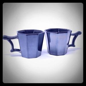 Starbucks 2013 Metallic Gray Ceramic Octagon Cups